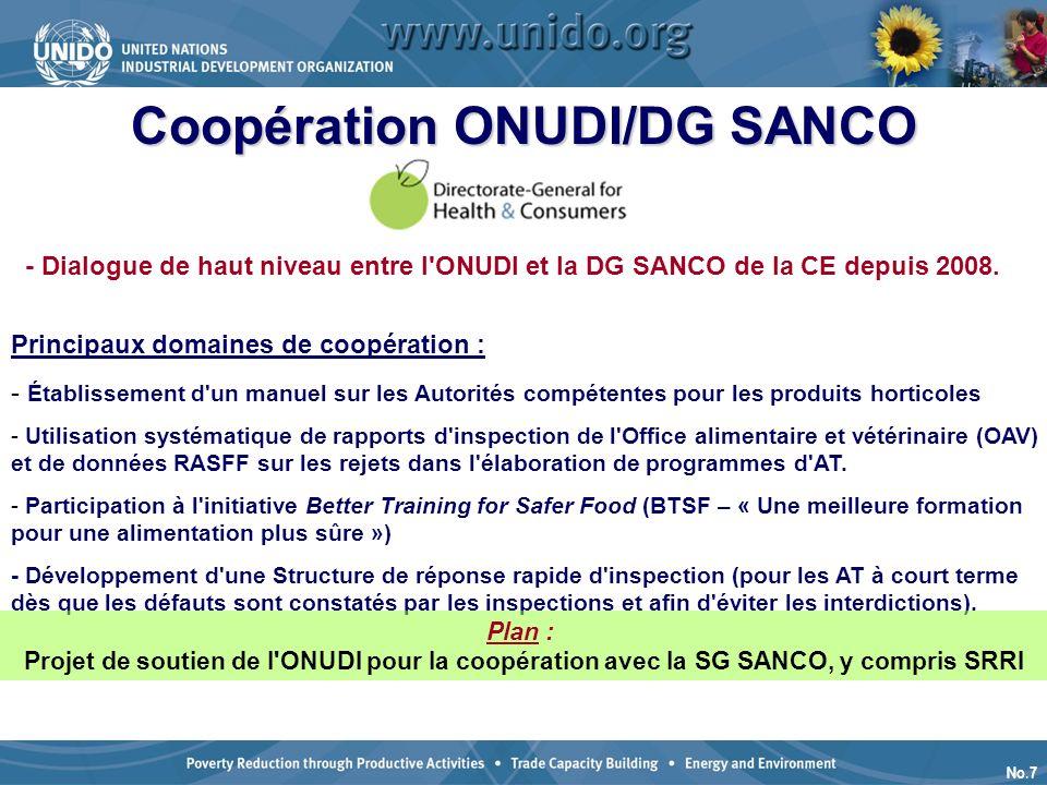 No.7 Coopération ONUDI/DG SANCO - Dialogue de haut niveau entre l ONUDI et la DG SANCO de la CE depuis 2008.