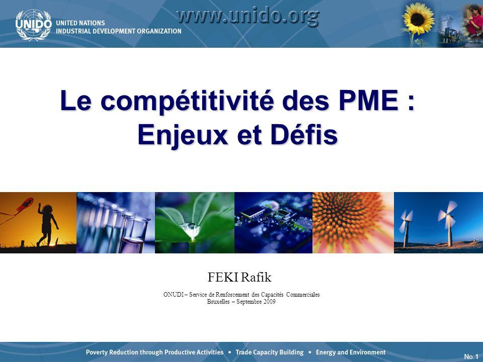 No.1 Le compétitivité des PME : Enjeux et Défis ONUDI – Service de Renforcement des Capacités Commerciales Bruxelles – Septembre 2009 FEKI Rafik