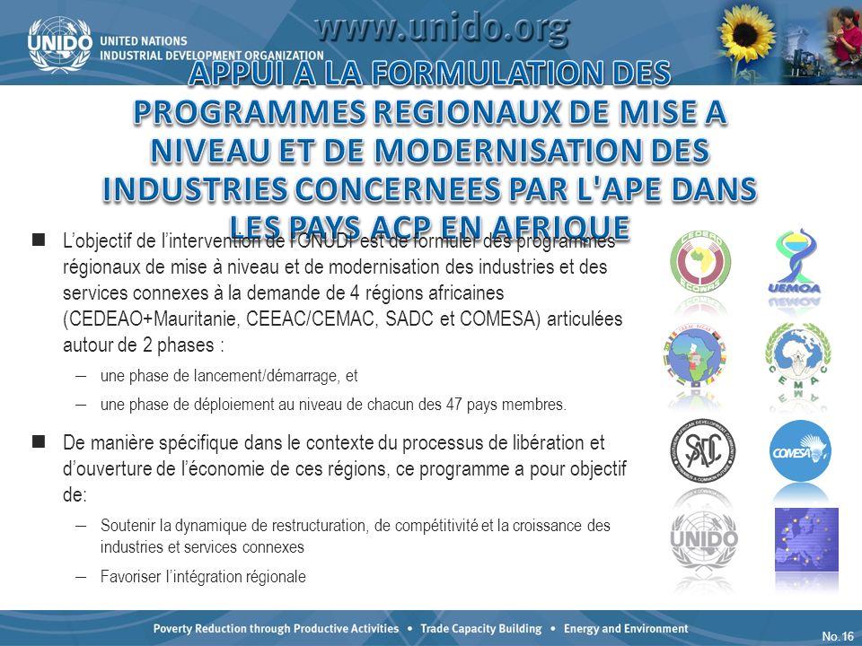 No.16 Lobjectif de lintervention de lONUDI est de formuler des programmes régionaux de mise à niveau et de modernisation des industries et des service