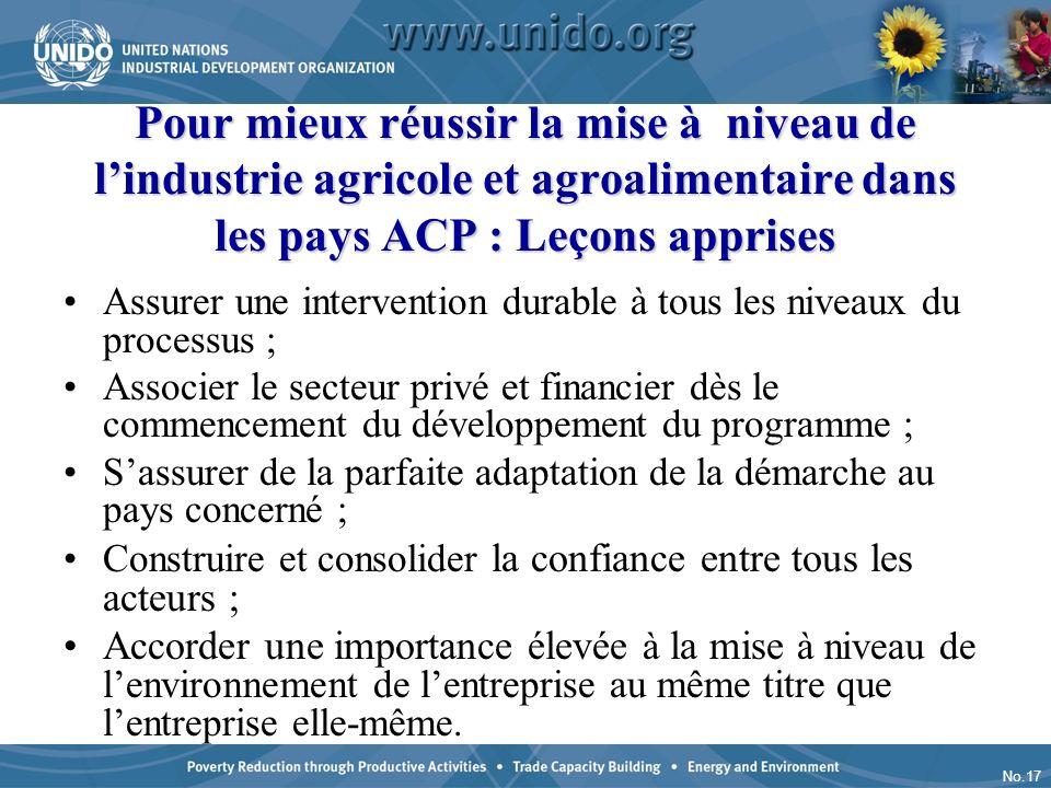 No.17 Pour mieux réussir la mise à niveau de lindustrie agricole et agroalimentaire dans les pays ACP : Leçons apprises Assurer une intervention durab