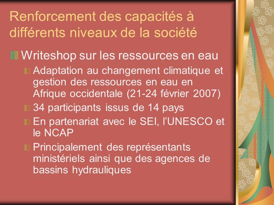 Renforcement des capacités à différents niveaux de la société Writeshop sur les ressources en eau Adaptation au changement climatique et gestion des r