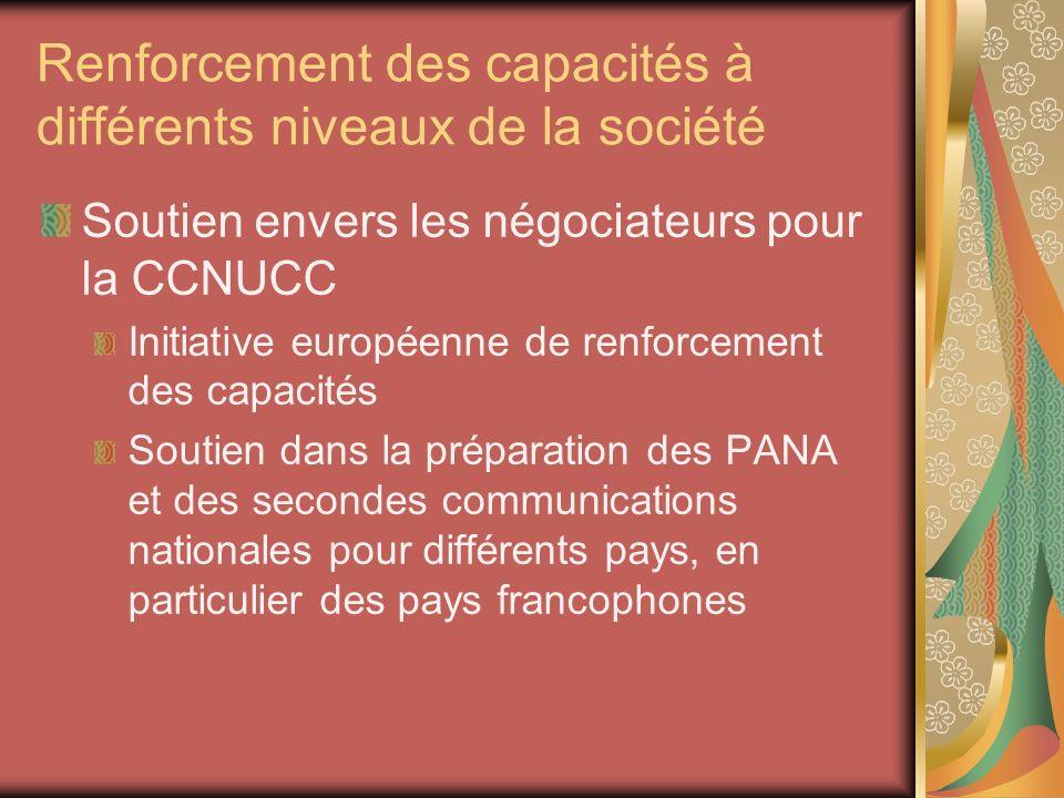 Renforcement des capacités à différents niveaux de la société Soutien envers les négociateurs pour la CCNUCC Initiative européenne de renforcement des