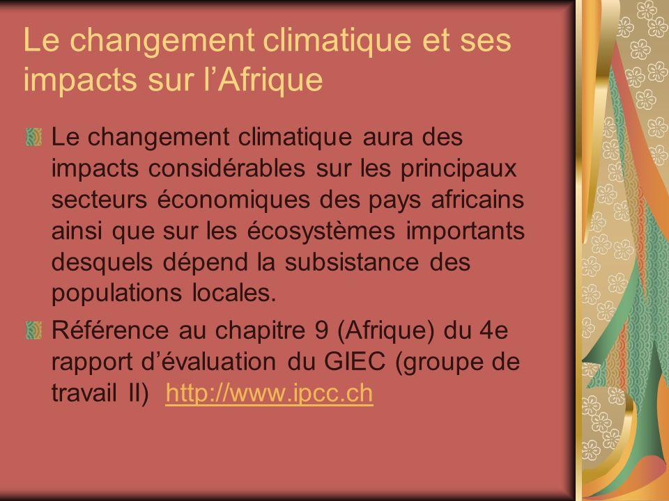Le changement climatique et ses impacts sur lAfrique Le changement climatique aura des impacts considérables sur les principaux secteurs économiques d