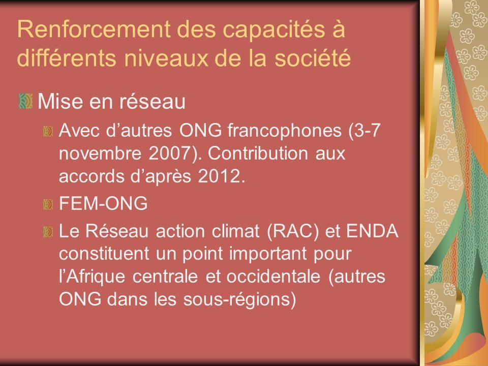 Renforcement des capacités à différents niveaux de la société Mise en réseau Avec dautres ONG francophones (3-7 novembre 2007). Contribution aux accor