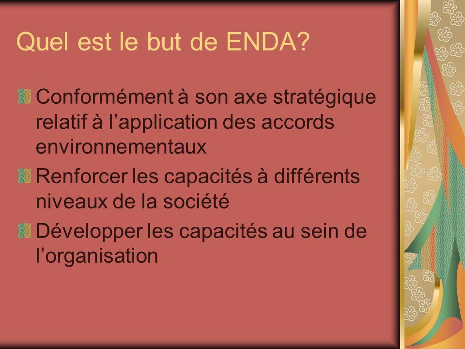 Quel est le but de ENDA? Conformément à son axe stratégique relatif à lapplication des accords environnementaux Renforcer les capacités à différents n