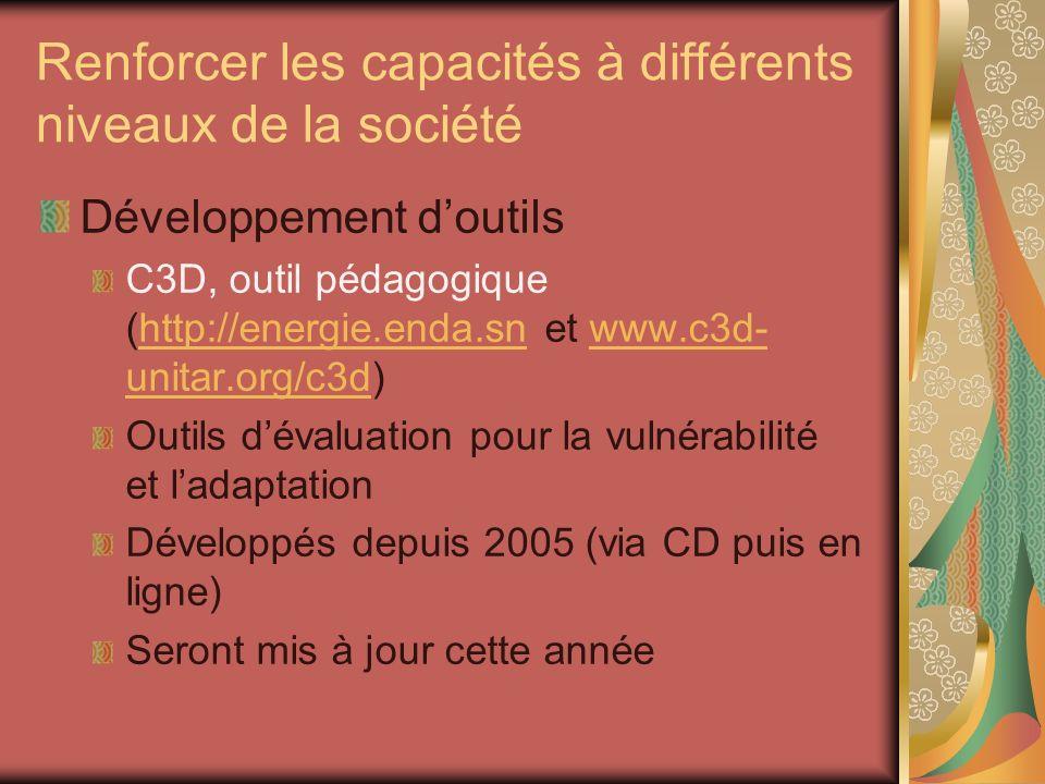 Renforcer les capacités à différents niveaux de la société Développement doutils C3D, outil pédagogique (http://energie.enda.sn et www.c3d- unitar.org