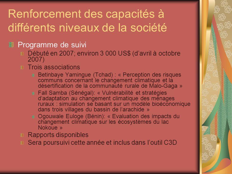 Renforcement des capacités à différents niveaux de la société Programme de suivi Débuté en 2007; environ 3 000 US$ (davril à octobre 2007) Trois assoc