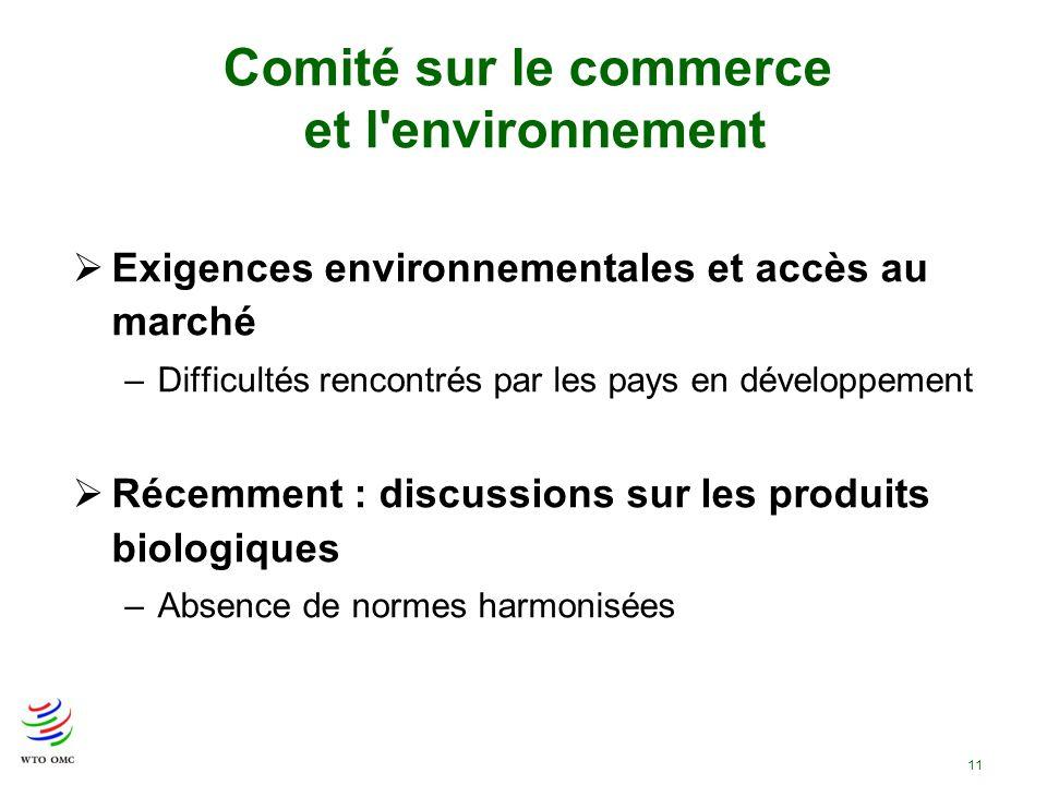 11 Comité sur le commerce et l'environnement Exigences environnementales et accès au marché –Difficultés rencontrés par les pays en développement Réce
