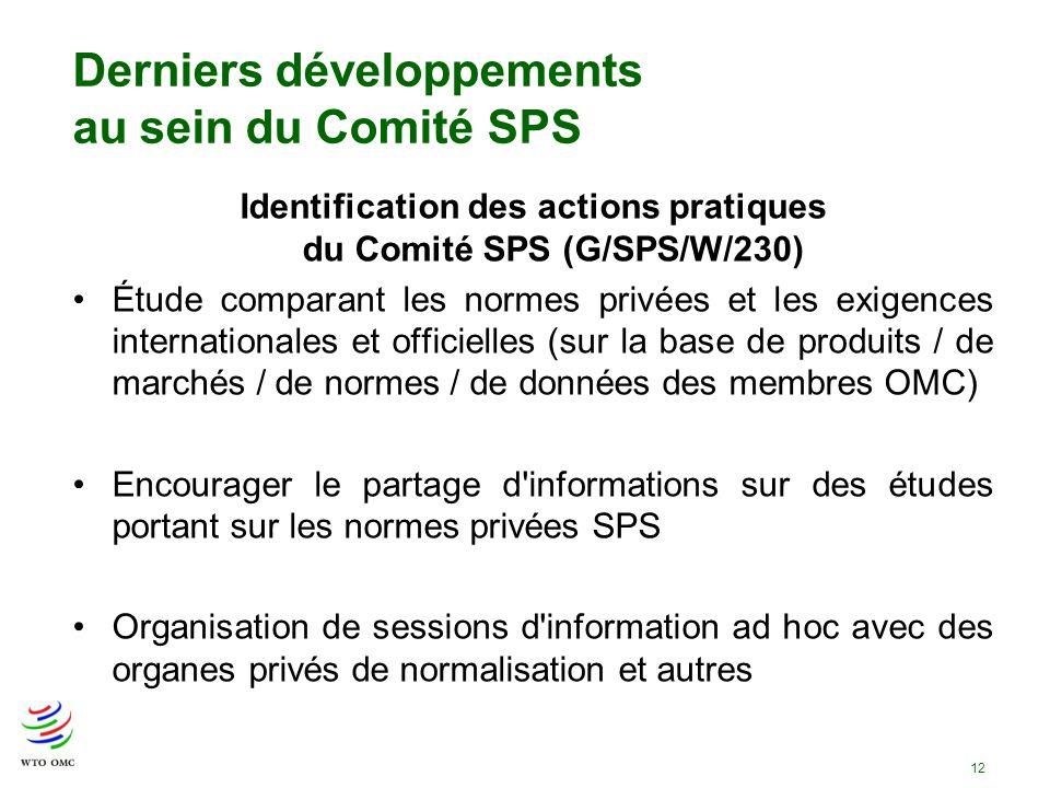12 Derniers développements au sein du Comité SPS Identification des actions pratiques du Comité SPS (G/SPS/W/230) Étude comparant les normes privées e