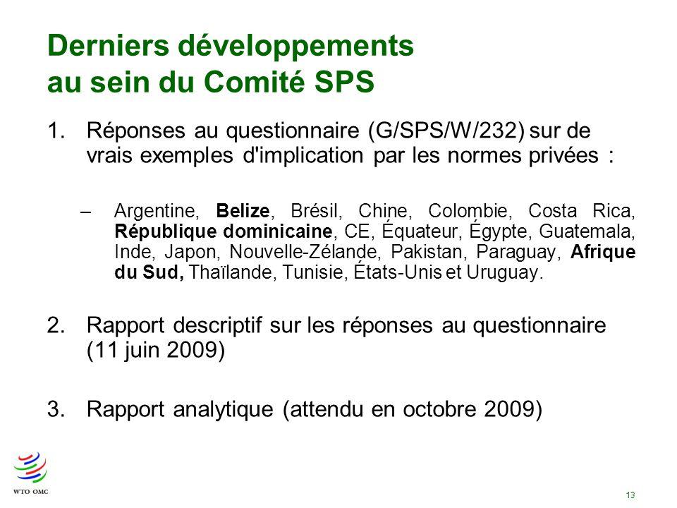 13 Derniers développements au sein du Comité SPS 1.Réponses au questionnaire (G/SPS/W/232) sur de vrais exemples d'implication par les normes privées