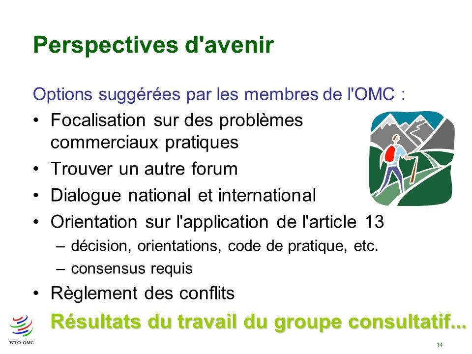 14 Perspectives d'avenir Options suggérées par les membres de l'OMC : Focalisation sur des problèmes commerciaux pratiques Trouver un autre forum Dial