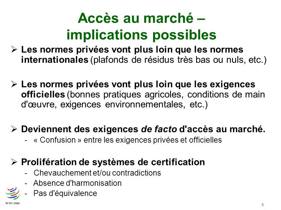 5 Accès au marché – implications possibles Les normes privées vont plus loin que les normes internationales (plafonds de résidus très bas ou nuls, etc