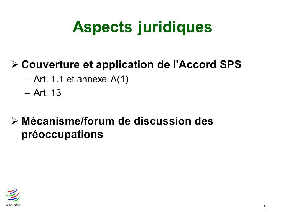 7 Couverture et application de l'Accord SPS –Art. 1.1 et annexe A(1) –Art. 13 Mécanisme/forum de discussion des préoccupations Aspects juridiques