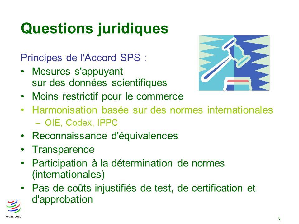 8 Questions juridiques Principes de l'Accord SPS : Mesures s'appuyant sur des données scientifiques Moins restrictif pour le commerce Harmonisation ba