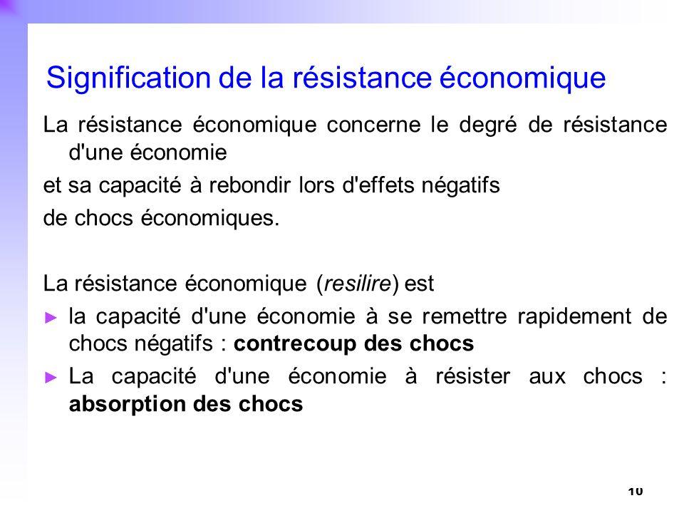 10 La résistance économique concerne le degré de résistance d'une économie et sa capacité à rebondir lors d'effets négatifs de chocs économiques. La r