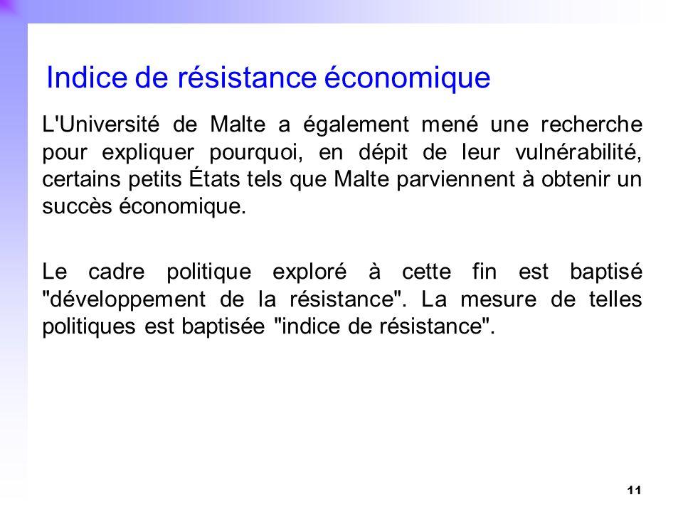 11 L'Université de Malte a également mené une recherche pour expliquer pourquoi, en dépit de leur vulnérabilité, certains petits États tels que Malte