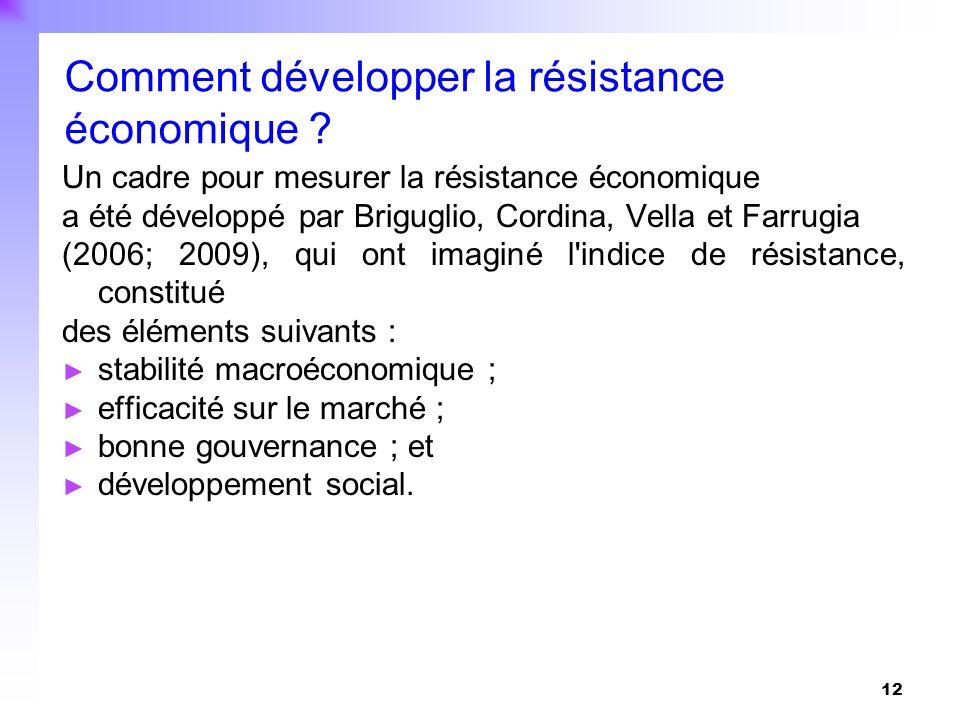 12 Un cadre pour mesurer la résistance économique a été développé par Briguglio, Cordina, Vella et Farrugia (2006; 2009), qui ont imaginé l'indice de