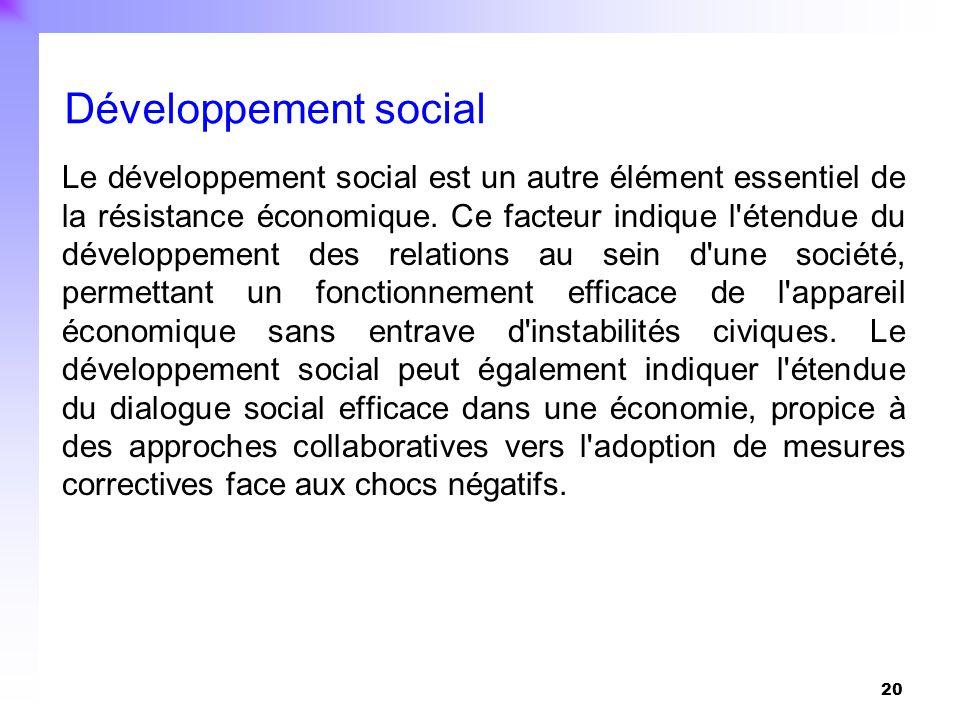 20 Le développement social est un autre élément essentiel de la résistance économique. Ce facteur indique l'étendue du développement des relations au