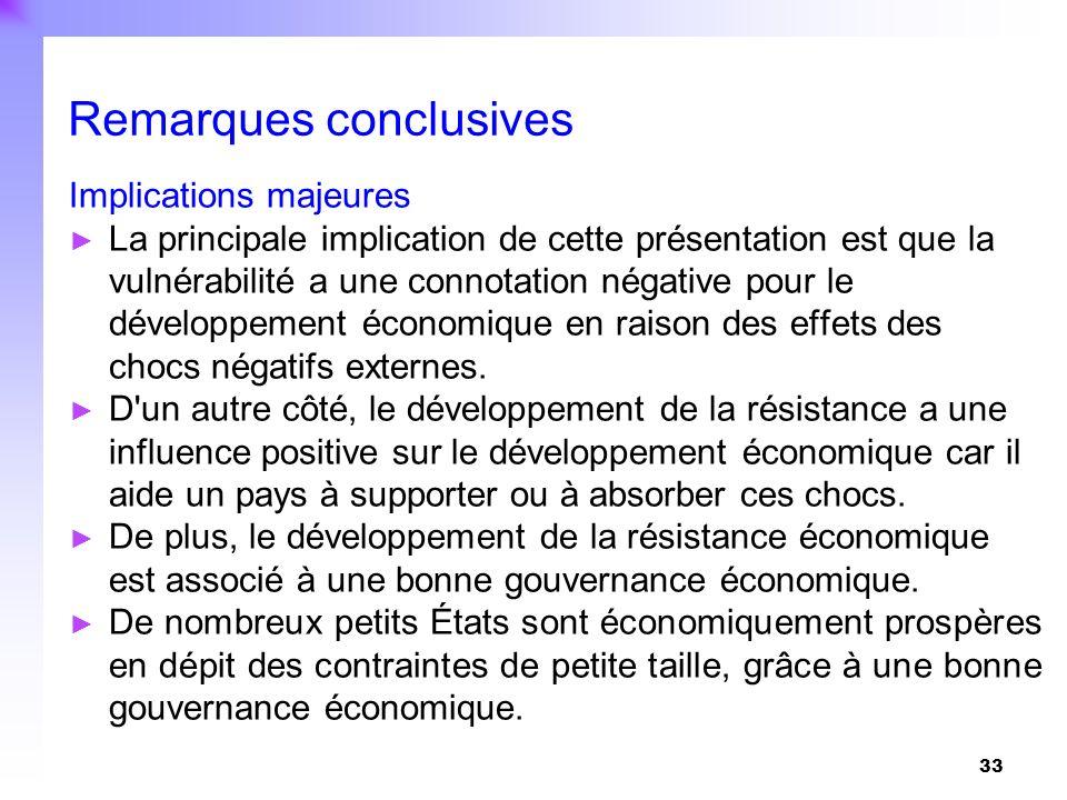 33 Implications majeures La principale implication de cette présentation est que la vulnérabilité a une connotation négative pour le développement éco