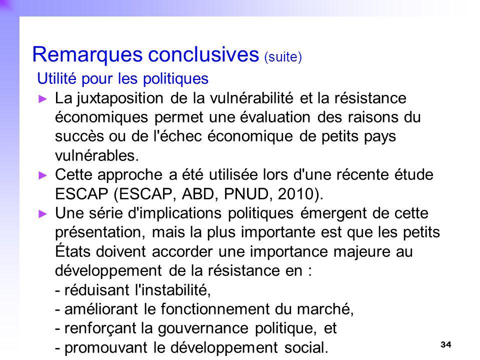 34 Utilité pour les politiques La juxtaposition de la vulnérabilité et la résistance économiques permet une évaluation des raisons du succès ou de l'é