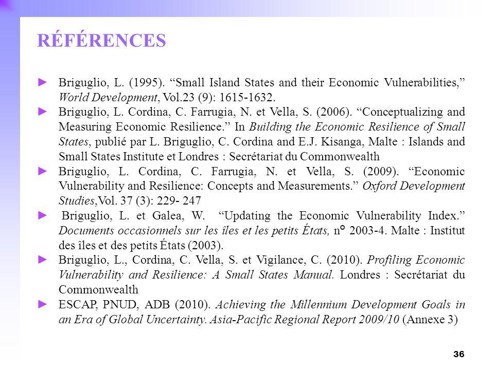 36 RÉFÉRENCES Briguglio, L. (1995). Small Island States and their Economic Vulnerabilities, World Development, Vol.23 (9): 1615-1632. Briguglio, L. Co
