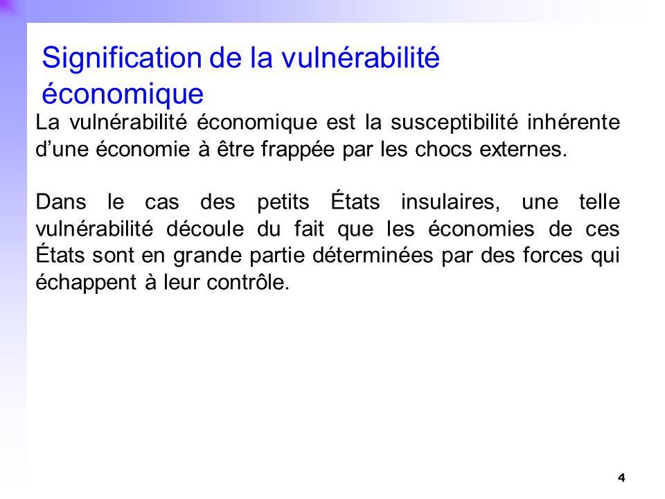 4 La vulnérabilité économique est la susceptibilité inhérente dune économie à être frappée par les chocs externes. Dans le cas des petits États insula