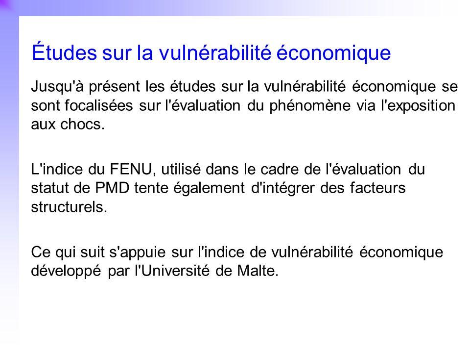 5 Jusqu'à présent les études sur la vulnérabilité économique se sont focalisées sur l'évaluation du phénomène via l'exposition aux chocs. L'indice du