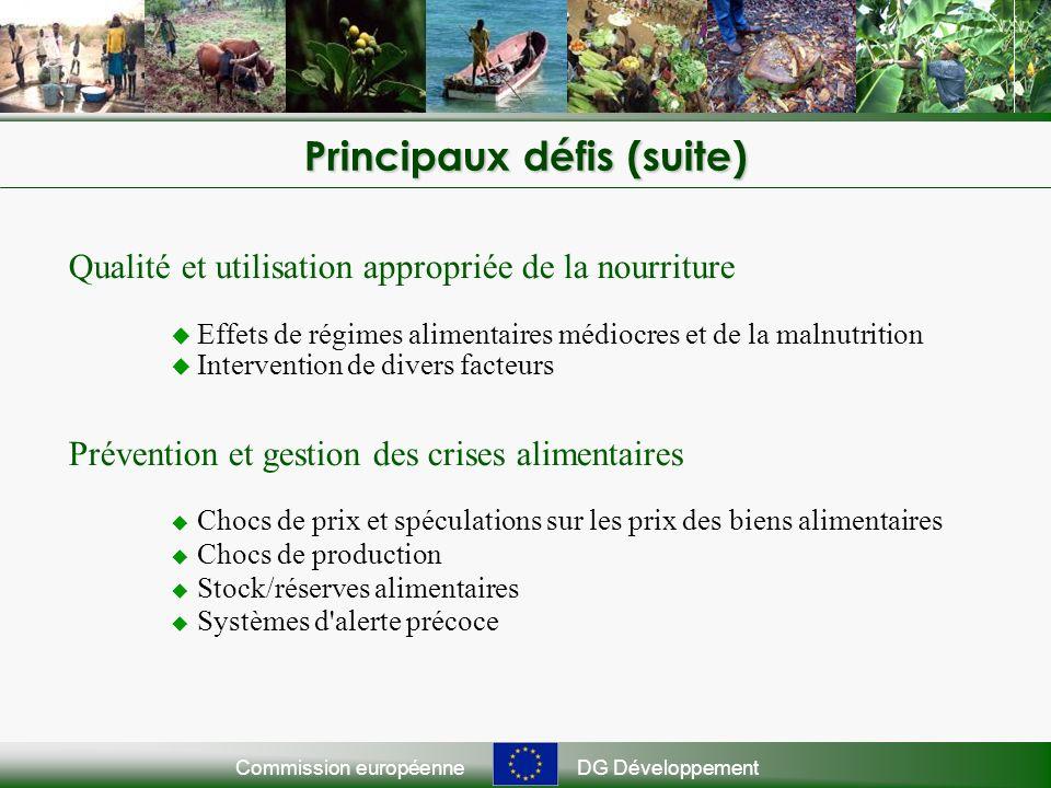 Commission européenneDG Développement Principaux défis (suite) Qualité et utilisation appropriée de la nourriture Effets de régimes alimentaires médio