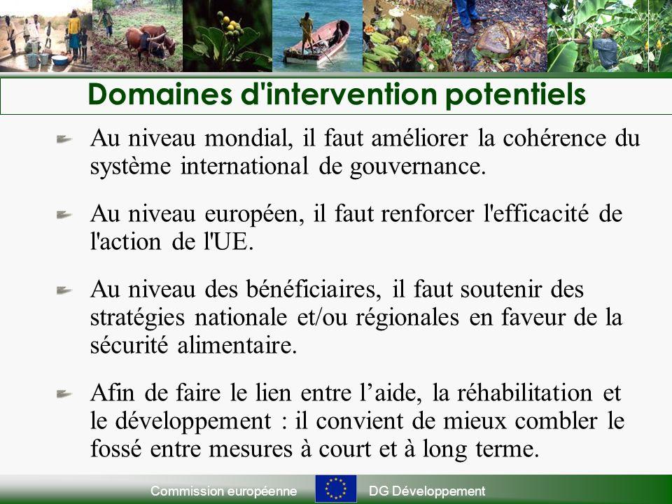 Commission européenneDG Développement Domaines d'intervention potentiels Au niveau mondial, il faut améliorer la cohérence du système international de