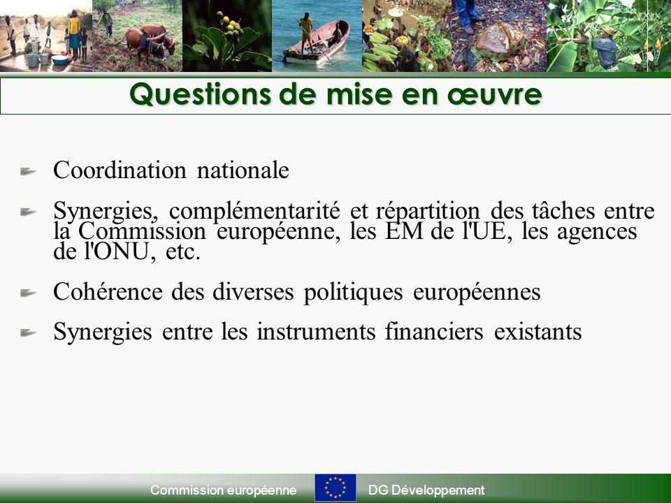 Commission européenneDG Développement Questions de mise en œuvre Coordination nationale Synergies, complémentarité et répartition des tâches entre la