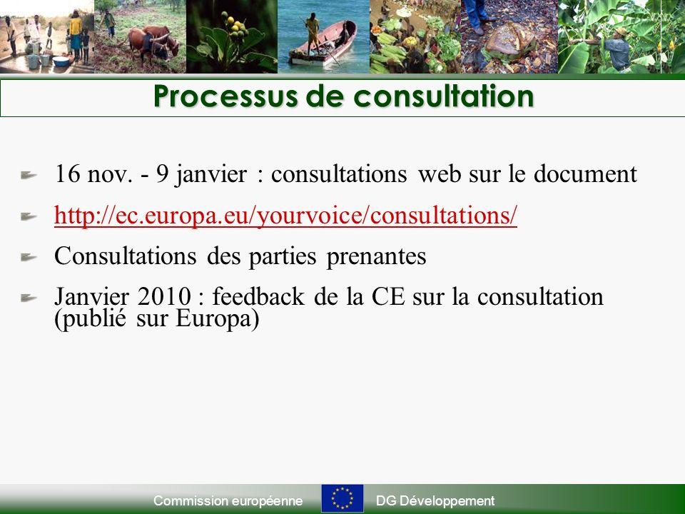 Commission européenneDG Développement Processus de consultation 16 nov. - 9 janvier : consultations web sur le document http://ec.europa.eu/yourvoice/