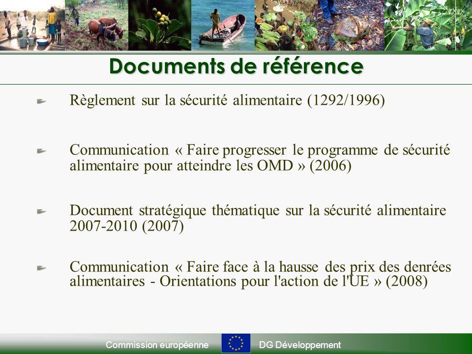 Commission européenneDG Développement Documents de référence Règlement sur la sécurité alimentaire (1292/1996) Communication « Faire progresser le programme de sécurité alimentaire pour atteindre les OMD » (2006) Document stratégique thématique sur la sécurité alimentaire 2007-2010 (2007) Communication « Faire face à la hausse des prix des denrées alimentaires - Orientations pour l action de l UE » (2008)