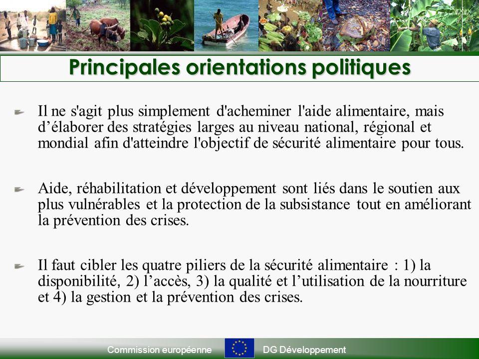 Commission européenneDG Développement Principales orientations politiques Il ne s agit plus simplement d acheminer l aide alimentaire, mais délaborer des stratégies larges au niveau national, régional et mondial afin d atteindre l objectif de sécurité alimentaire pour tous.