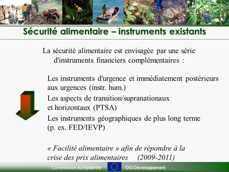 Commission européenneDG Développement La sécurité alimentaire est envisagée par une série d instruments financiers complémentaires : Les instruments d urgence et immédiatement postérieurs aux urgences (instr.