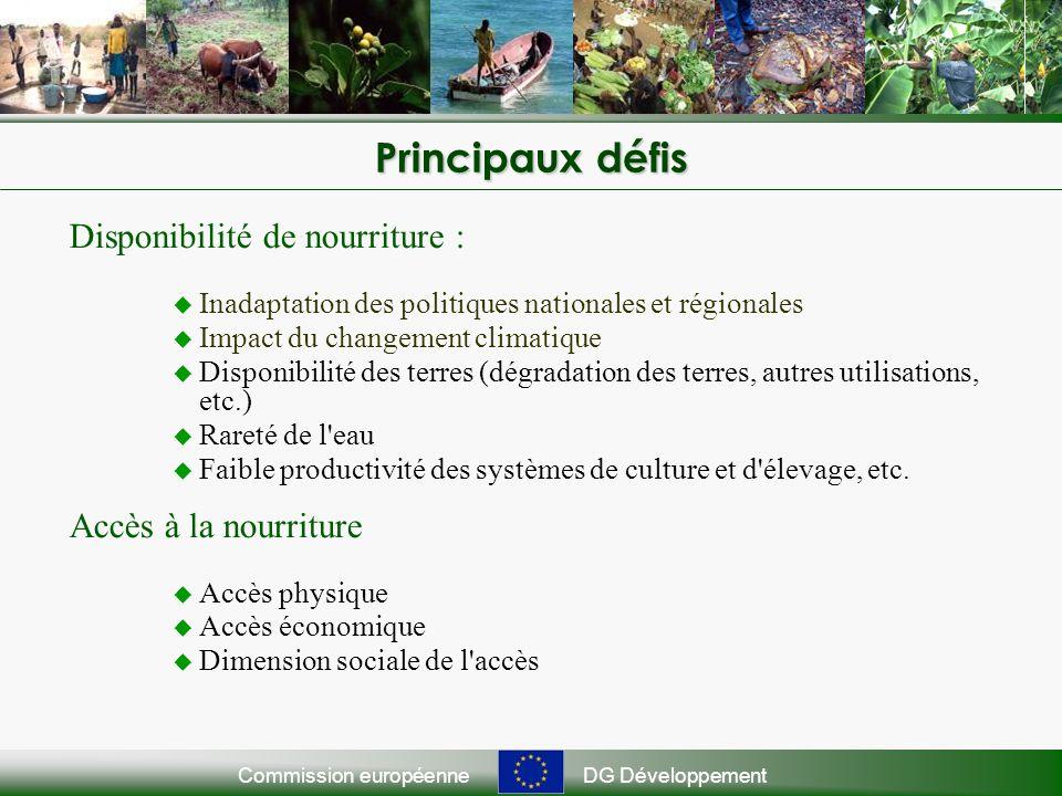 Commission européenneDG Développement Principaux défis Disponibilité de nourriture : Inadaptation des politiques nationales et régionales Impact du changement climatique Disponibilité des terres (dégradation des terres, autres utilisations, etc.) Rareté de l eau Faible productivité des systèmes de culture et d élevage, etc.