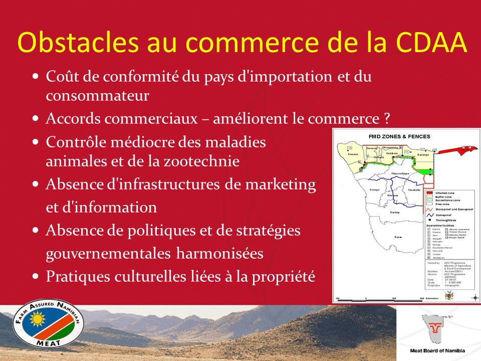 Obstacles au commerce de la CDAA Coût de conformité du pays d importation et du consommateur Accords commerciaux – améliorent le commerce .
