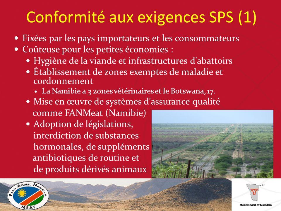 Conformité aux exigences SPS (1) Fixées par les pays importateurs et les consommateurs Coûteuse pour les petites économies : Hygiène de la viande et infrastructures d abattoirs Établissement de zones exemptes de maladie et cordonnement La Namibie a 3 zones vétérinaires et le Botswana, 17.