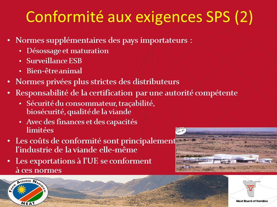 Conformité aux exigences SPS (2) Normes supplémentaires des pays importateurs : Désossage et maturation Surveillance ESB Bien-être animal Normes privées plus strictes des distributeurs Responsabilité de la certification par une autorité compétente Sécurité du consommateur, traçabilité, biosécurité, qualité de la viande Avec des finances et des capacités limitées Les coûts de conformité sont principalement supportés par l industrie de la viande elle-même Les exportations à l UE se conforment à ces normes