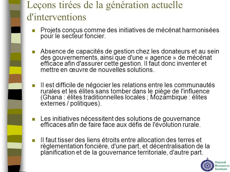 Leçons tirées de la génération actuelle d'interventions n Projets conçus comme des initiatives de mécénat harmonisées pour le secteur foncier. n Absen