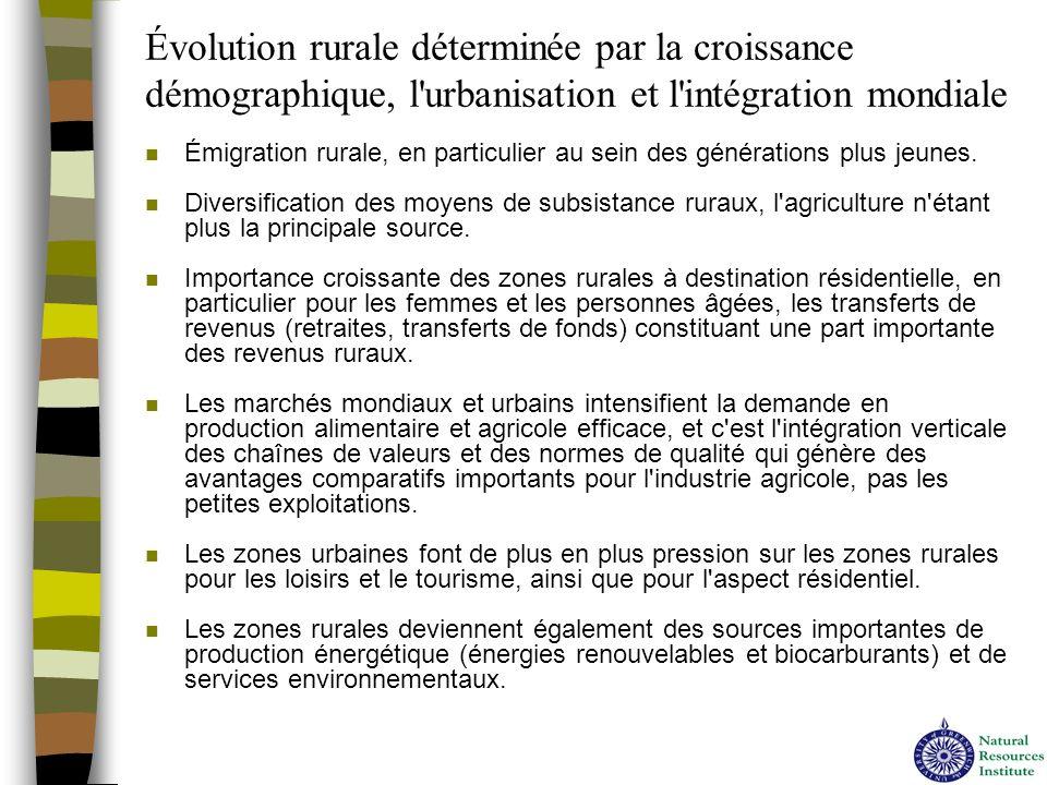Évolution rurale déterminée par la croissance démographique, l'urbanisation et l'intégration mondiale n Émigration rurale, en particulier au sein des