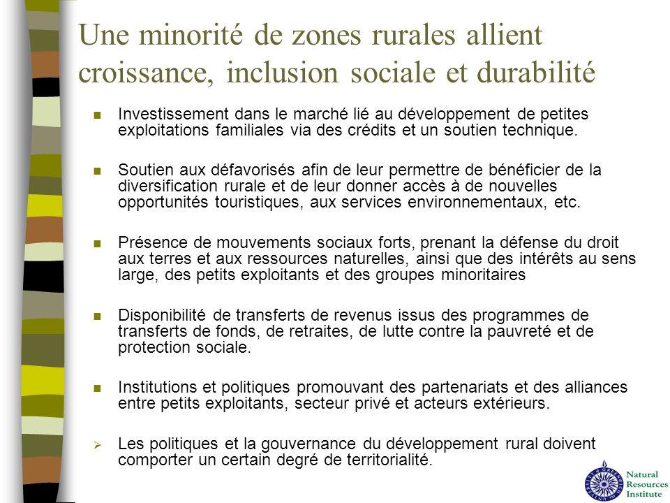 Une minorité de zones rurales allient croissance, inclusion sociale et durabilité n Investissement dans le marché lié au développement de petites expl