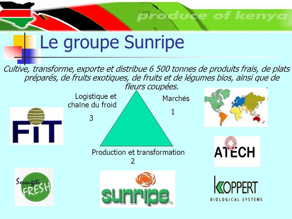 Le groupe Sunripe Cultive, transforme, exporte et distribue 6 500 tonnes de produits frais, de plats préparés, de fruits exotiques, de fruits et de légumes bios, ainsi que de fleurs coupées.