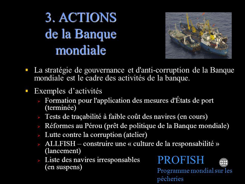 3. ACTIONS de la Banque mondiale La stratégie de gouvernance et d'anti-corruption de la Banque mondiale est le cadre des activités de la banque. Exemp