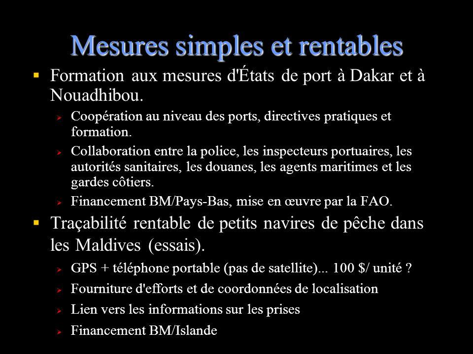 Mesures simples et rentables Formation aux mesures d'États de port à Dakar et à Nouadhibou. Coopération au niveau des ports, directives pratiques et f