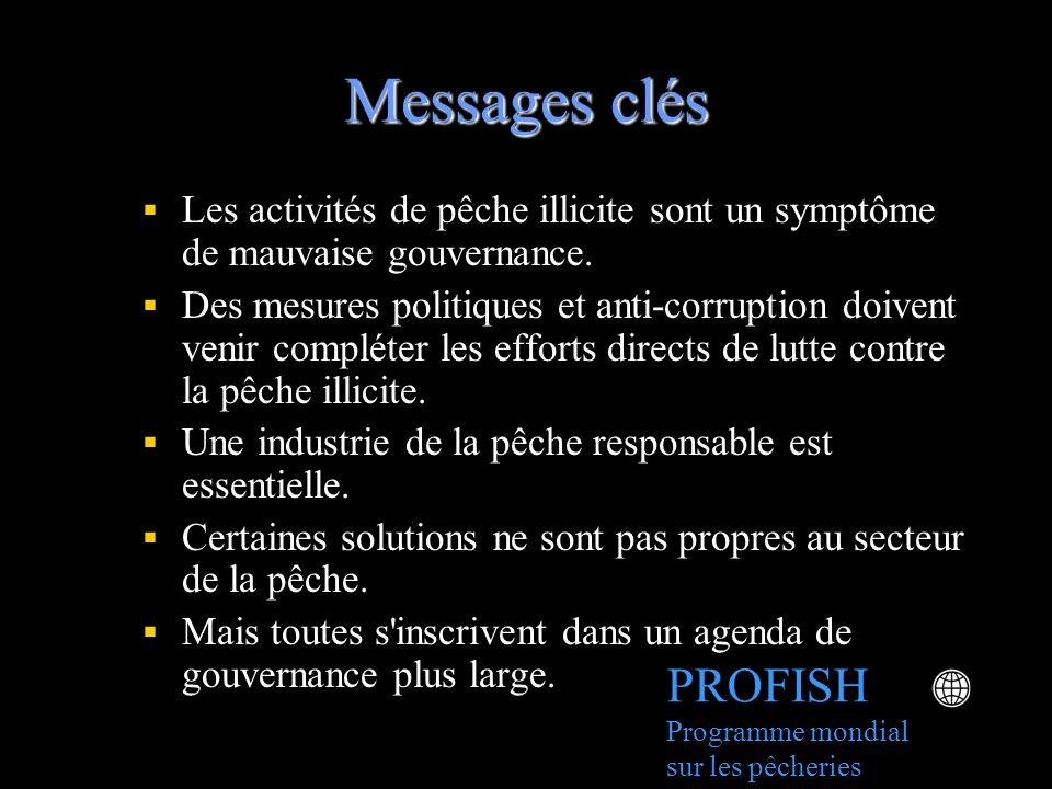 Messages clés Les activités de pêche illicite sont un symptôme de mauvaise gouvernance. Des mesures politiques et anti-corruption doivent venir complé