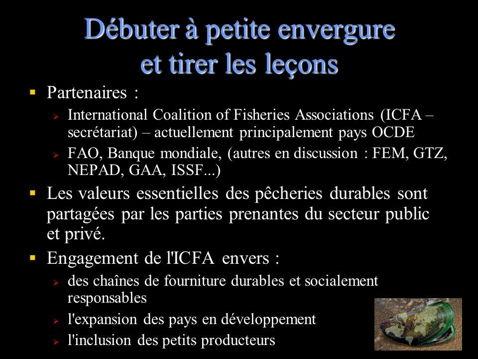 Débuter à petite envergure et tirer les leçons Partenaires : International Coalition of Fisheries Associations (ICFA – secrétariat) – actuellement pri