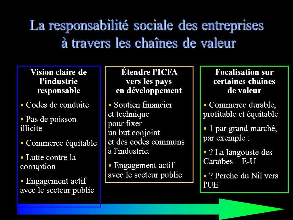 La responsabilité sociale des entreprises à travers les chaînes de valeur Vision claire de l'industrie responsable Codes de conduite Pas de poisson il