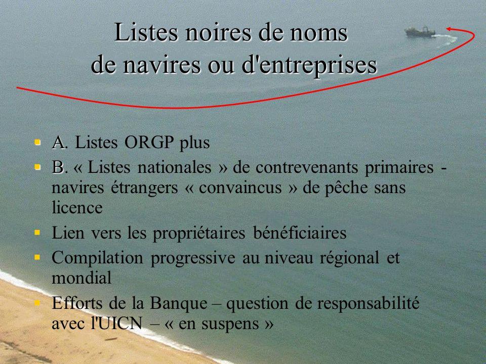 Listes noires de noms de navires ou d'entreprises A A. Listes ORGP plus B B. « Listes nationales » de contrevenants primaires - navires étrangers « co