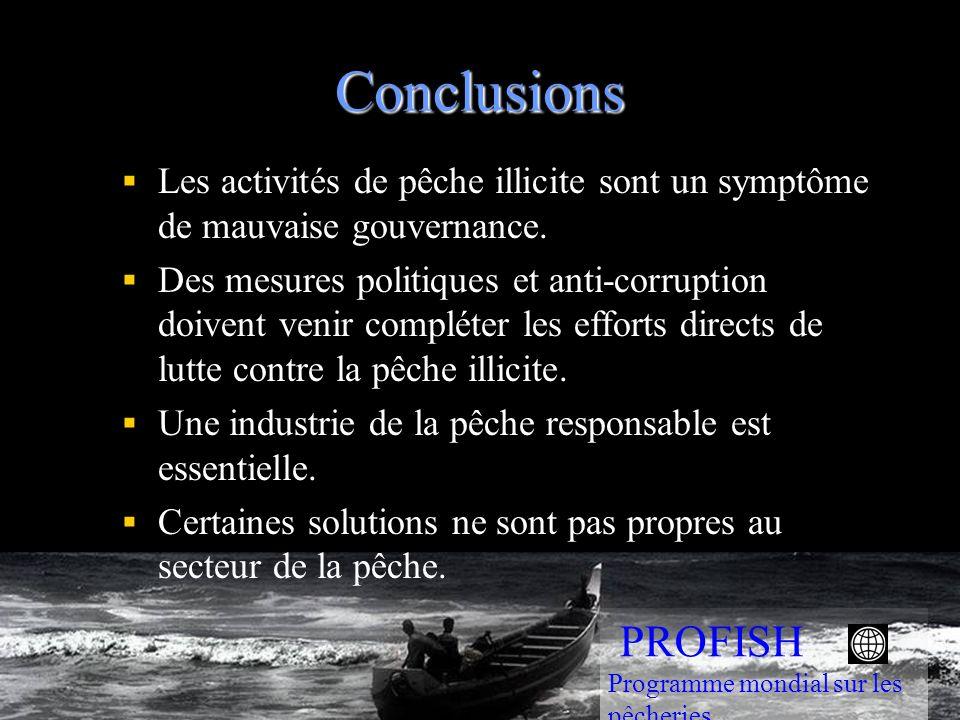 Conclusions Les activités de pêche illicite sont un symptôme de mauvaise gouvernance. Des mesures politiques et anti-corruption doivent venir compléte