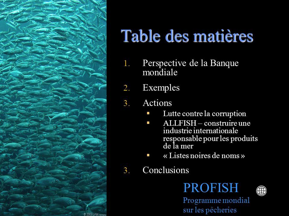Table des matières PROFISH Programme mondial sur les pêcheries 1. Perspective de la Banque mondiale 2. Exemples 3. Actions Lutte contre la corruption
